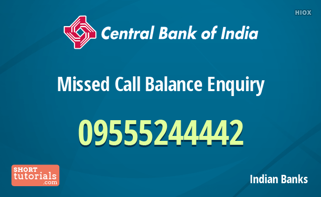 Central Bank Of India Balance Enquiry Missed Call Number