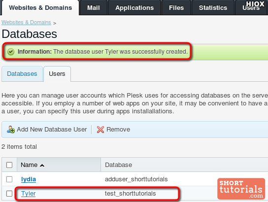 Added New User Database Plesk